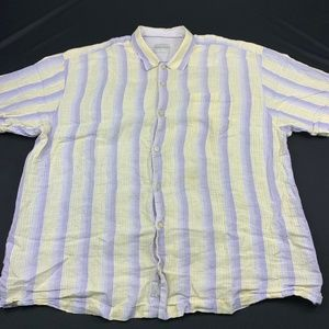 Tommy Bahama Shirt Short Sleeve Striped Linen Top